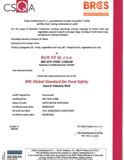 BRC Certificate 2019