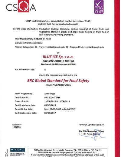 certyfikat brc 2016