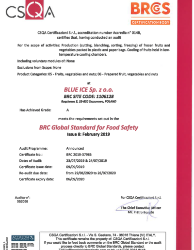 Certyfikat BRC 2019