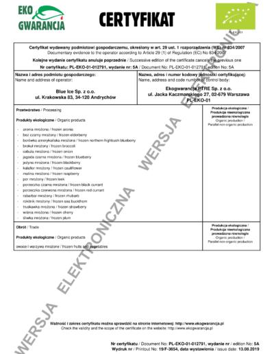 Certyfikat Ekogwarancja Strona 1