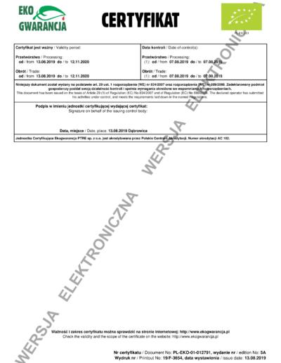 Certyfikat Ekogwarancja Strona 2